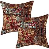 Stylo Culture Décoratif Indien Coton Housses De Coussin 60x60 cm Marron Indiennes Patchwork 24 x 24 Pouces Décoration De Mais