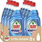 Fairy Ultra Poder Extra Higiene Lavavajillas Líquido a Mano, 4L (X 500 Ml), Aroma a Eucalipto, Azul, 8 Unidades