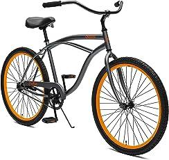 Critical Cycles Herren Chatham Men's Beach Cruiser Single Speed, Graphite w/Orange, grau, One Size