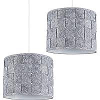 Pair of - Small Modern Grey Felt Weave Design Ceiling Pendant/Table Lamp Drum Light Shades
