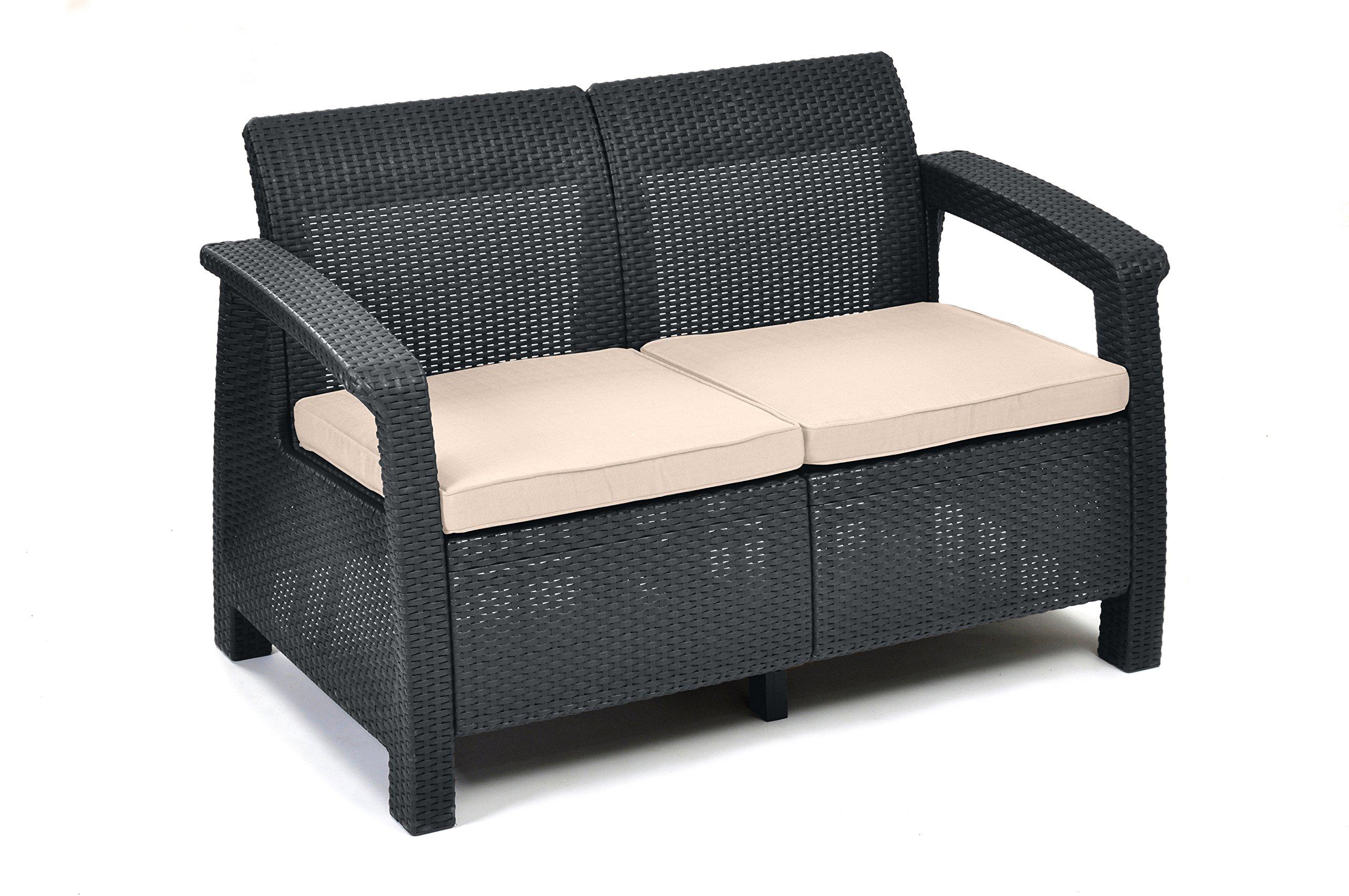 Rattan sofa outdoor  Keter Korfu 2 Sitzer Rattan Sofa Outdoor Gartenmöbel Graphit mit ...