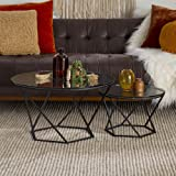 Walker Edison Furniture Company Modern Round Nesting Coffee Accent Table Living Room, Black