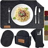 MAHEWA® Zestaw 6 podkładek na stół Premium z filcu, antypoślizgowych, zmywalnych i można prać w pralce, prostokątne podkładki