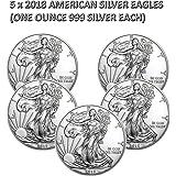 5 Silbermünze (5 Unze) American Silver Eagle 2018, neu, einzeln in Münzkapseln verpackt