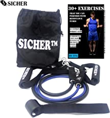 SICHER™ Resistance Tube/ Resistance Band with Foam Handles, Door Anchor for Gym Workouts, Home Workout, Pilates Training for Men and Women With Extensive Exercise Guide Containing 30 Plus Exercises