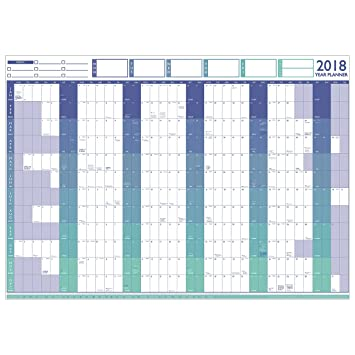 Geopacks 2018 Large Year Wall Chart & Holiday Planner (Blue ...