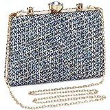 UBORSE Abendtasche Damen Clutch Bag Kette Tasche Klein Handtasche Elegant Geflochten Umhängetasche für Hochzeit Party Disko -
