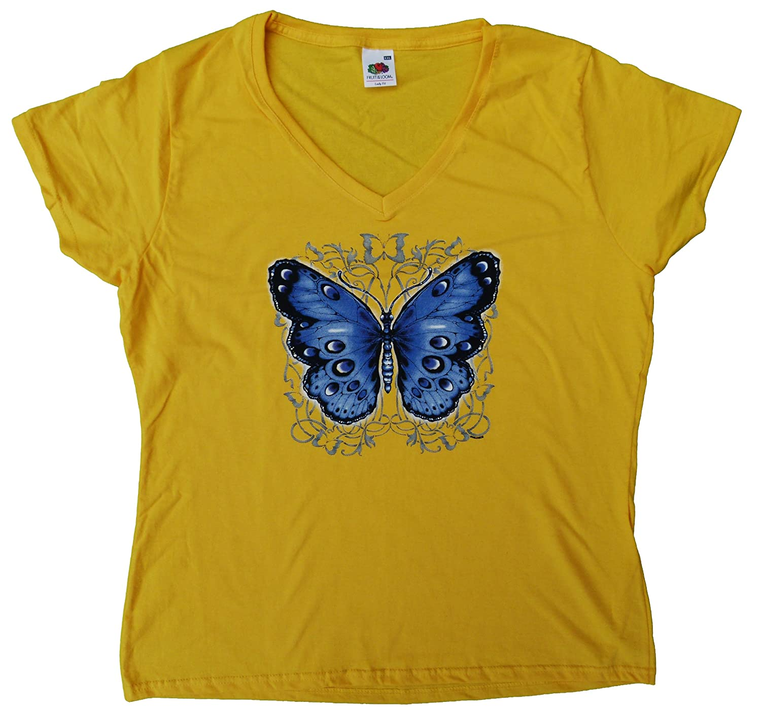 DarkArt-Designs Gothic T-Shirt Blue Butterfly slim fit: Amazon.co.uk:  Clothing