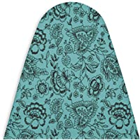 Encasa Homes Ironing Board Cover with 3mm Thick Felt Pad for Steam Press (Fits Standard Medium Boards of 112 x 33 cm) Heat Reflective, Scorch & Stain Resistant, Printed - Blue Floral