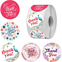 Clickedin 500 Pieces Round Multi Designs Thank You Stickers for Small Business