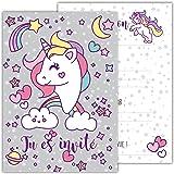 12 Cartes d'invitation Amusantes pour Enfants dans Un Set pour fêtes d'anniversaire d'enfants / Unicorn - Pegasus / Invitation à Une fête d'anniversaire pour garçons et Filles / Lot de 12 Cartes