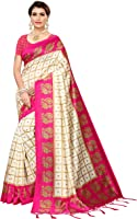 Pisara Women Mysore Silk Printed Saree, Orange & Off White Sari