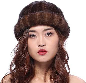 URSFUR Cappello da donna invernale con pelliccia integrale di visone morbido caldo e delicato