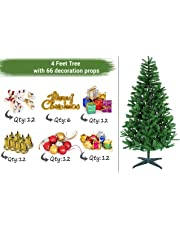 TIED RIBBONS Christmas Xmas Tree for Home Office Decoration (4 Feet) with 66 Ornaments Tree Decoration Props - Xmas Tree