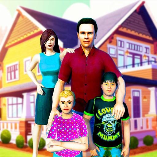 virtuelles Familiensimulatorspiel arbeitender Muttersimulator glückliche FamilienTagesstättenspiele 3D