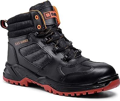Black Hammer Mens Leather Safety Boots Composite Toe Cap Kevlar Non Metallic Metal Free Lightweight S3 SRC Slip Resistant Work Shoes Ankle Hiker 8844