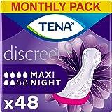 Tena Discreet Maxi Night, maandpakket met 48 inzetstukken (8 verpakkingen van 6 inlegzolen)