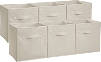 AmazonBasics Foldable Storage Cubes (6 Pack), Beige