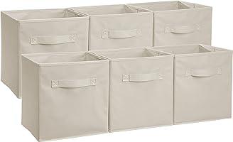 AmazonBasics Foldable Storage Cubes (6 Pack), Beige
