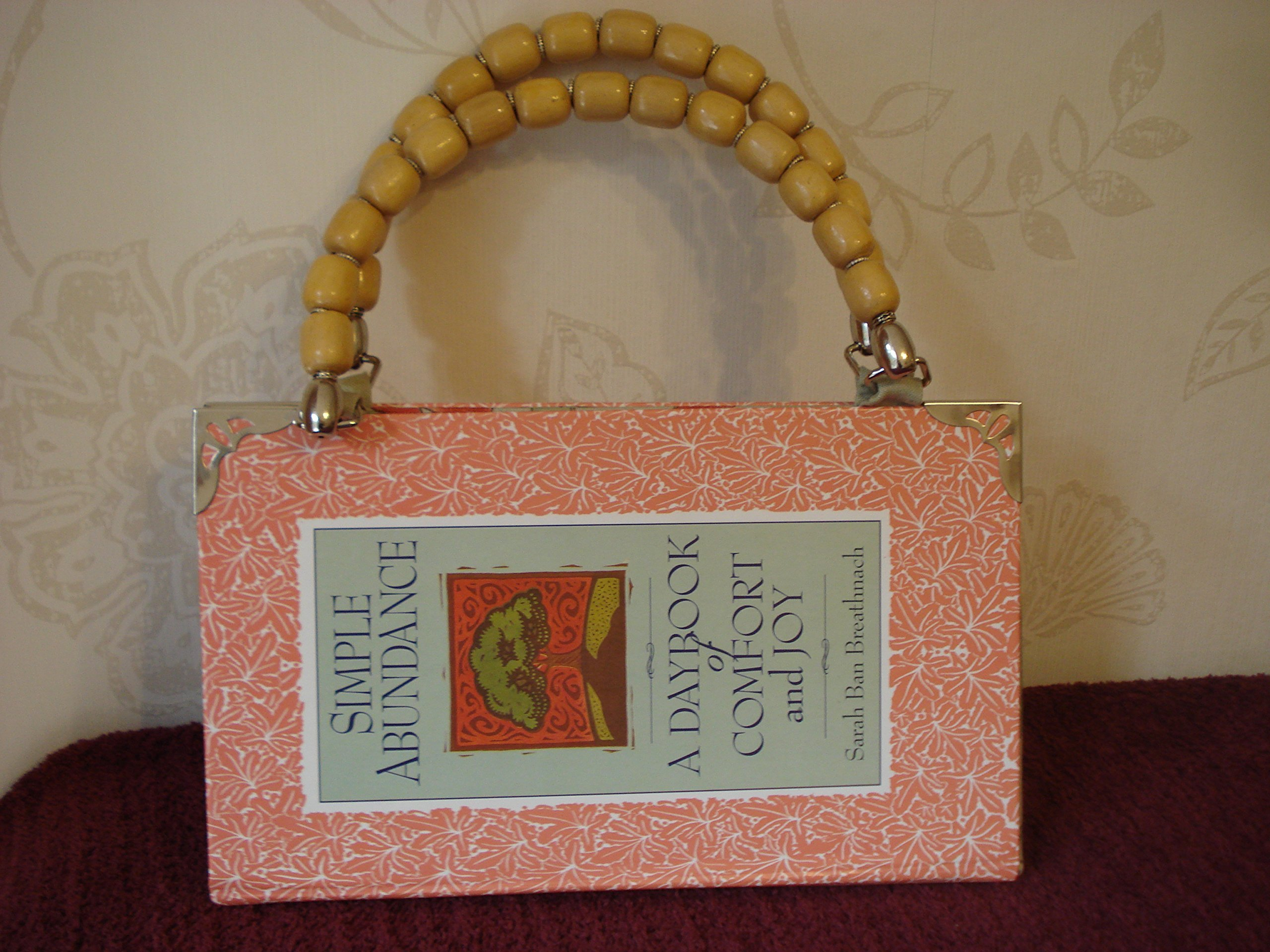 A Unique Bag Made From A Recycled Book With Wooden Bead Handles And A Magnetic Fastener Great Christmas Gift - handmade-bags
