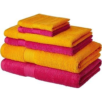 Amazon Brand - Solimo 100% Cotton 6 Piece Towel Set, 500 GSM (Paradise Pink and Sunshine Yellow)
