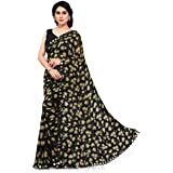 SOURBH Women's All Over Flower Prints Saree With & Mirror Lace Border & Blouse Piece