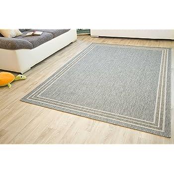 In- und Outdoor Teppich Gotland Design Bordüre Linien Grau