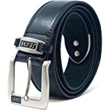 """Mens 38mm Leather Lined Jeans Belt by 'Ossi' in Black (Size 52"""" - 56"""")"""