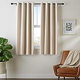 Amazon Basics Room-Darkening Blackout Curtain Set with Grommets - 117 x 137 cm, Beige