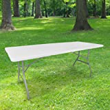 Table Pliante 180 cm d'Appoint Rectangulaire Blanche - Table de Camping 8 personnes L180 x l74 x H74cm en HDPE Haute Densité