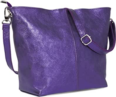 LiaTalia - Adal - Borsa a Spalla vera pelle italiana, borsa di alta qualità realizzata in Toscana, borsa elegante e pratico - Viola