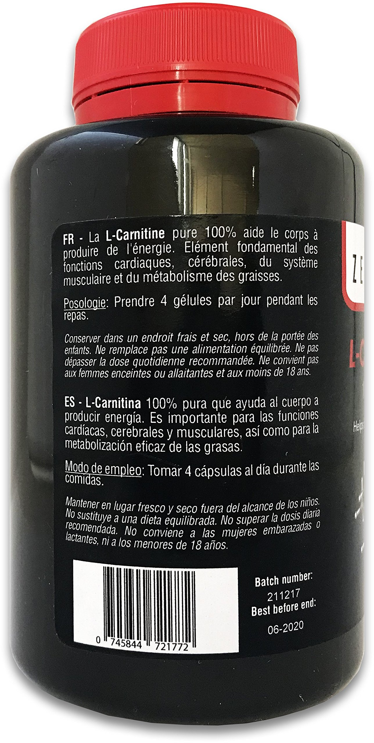 L-Carnitine | 180 Capsules | Improve Sports Performance and The efficient metabolization of Fat | Vegan, Gluten Free