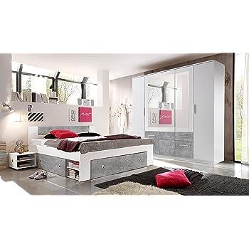 Schlafzimmer Komplett Set 4 Tlg. STEFAN Bett 180 Kleiderschrank 212 Cm  Nachtkommoden Weiß Grau Beton