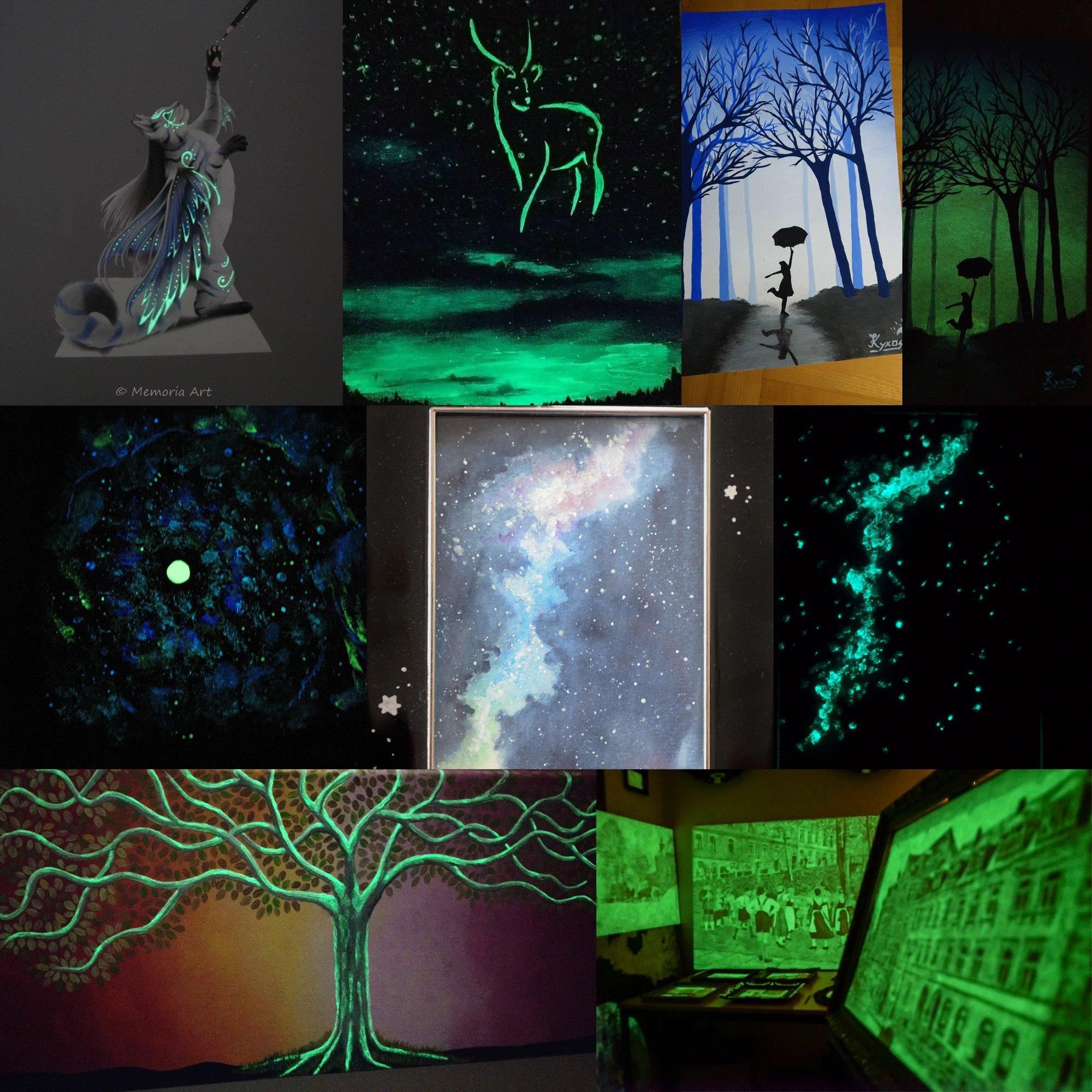 lumentics Premium Leuchtfarbe GrünBlau 100g - Im Dunkeln leuchtende Farbe, Helle Nachleuchtfarbe, Selbstleuchtende…