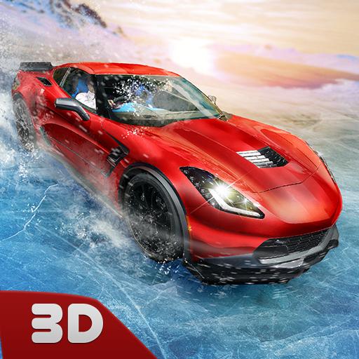 Frozen Racing Car Water Slide 3D: Car stunt Race Driver | Extreme Waterslide Ice Racing Simulator