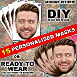8 x Personalised Photo Face Mask stag hen night party Kit DIY or READY TO WEAR