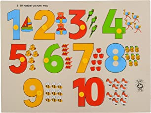 Skillofun Wooden Number with Picture Tray with Knobs, Multi Color