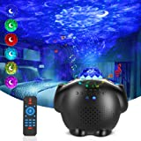 Lampada Proiettore Soffitto, Luce Notturna Bambini con Stella Luna Onda Acqua, Telecomando, Altoparlante Bluetooth, Timer, LE