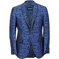 Xposed Mens Blue Paisley Print Italian Designer Suit Jacket Fitted Blazer