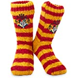 Harry Potter Fluffy Slipper Socks - Gryffindor Deluxe Knitted Winter Warm Fleece Lined Chunky Slipper Bed Socks Ladies Non Sl