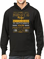 Tee Talkies No Body Perfect Except September Born Hooded Sweatshirt for Mens Premium Cotton Mens Birthday Hooded Sweatshirt