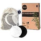 Wasbare make-uppads, 20 herbruikbare make-updoekjes van actieve kool en bamboe, met waszak, wasbaar en herbruikbaar, duurzame