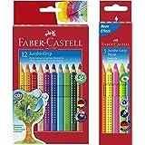 Faber-Castell Bundle 110912 Buntstift Jumbo GRIP 12er Kartonetui; inklusive Spitzer und Faber-Castell 110994 - Buntstifte Jum