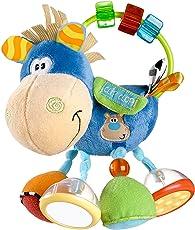 Playgro 40016 Plüschrassel, Lernspielzeug, Ab 3 Monaten, BPA-frei, Playgro Toy Box Pferd Klipp Klapp, Blau/Bunt