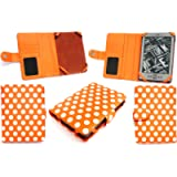 Emartbuy New Kindle Polka Dots Orange/White Case Cover Pouch + Screen Protector for New Amazon Kindle 4, All - New…