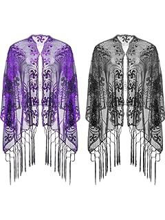 9736f23a241 2 Pièces Soirée Châle Paillette Cape Châle avec Gland Echarpe Femme Années  1920 pour Robe de
