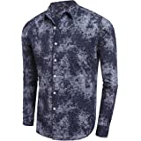 Mens Long Sleeve Shirts Floral Print Slim Fit Casual Button Down Shirts Neon Clothing