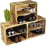 Lot de 3caisses à chaussures en bois flammé, avec 3étagères, pour 12paires de chaussures, dimensions: 50x40x30cm (un