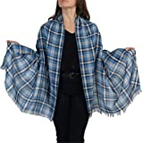 Soft Tartan Check Pashmina Scarf Wrap Shawl with Delicate Tassel Finishing and Free Hanger