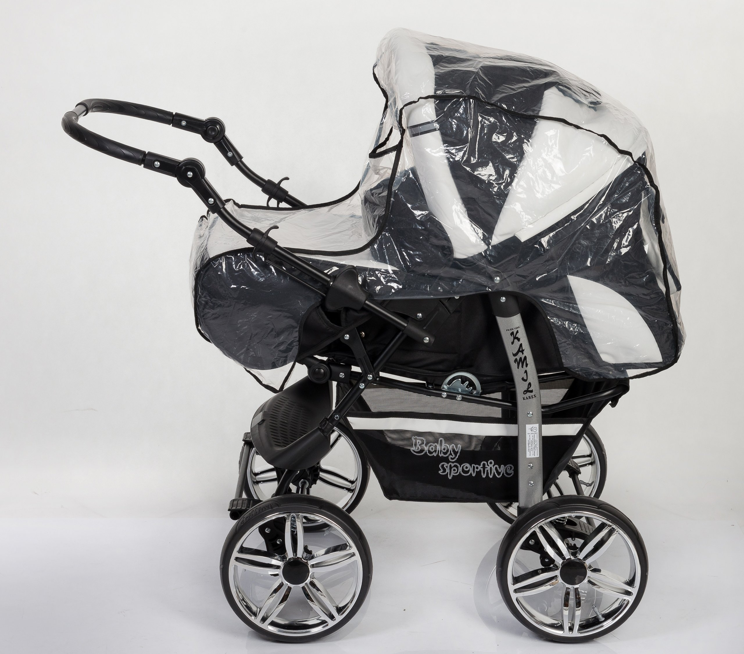 3-in-1 Travel System with Baby Pram, Car Seat, Pushchair & Accessories, Black & White   8